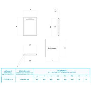 SPORTELLO INOX SINGOLO - Linea ICE - Mod. IC SP60 - Guarnizione magnetica intercambiabile - Angoli arrotondati - Foro banco cm L 44,5 x 60,4 H