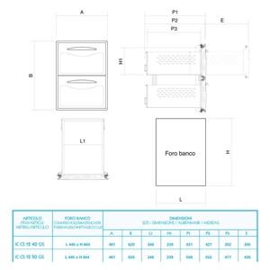 CASSETTIERA INOX 1/2 - Linea ICE - Mod. IC CS12 40 GS - Guida semplice - Angoli arrotondati - Foro banco cm L 44,5 x 60,4 H - Profondità cassetto cm 43,1