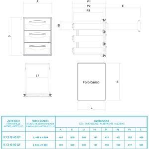 CASSETTIERA INOX 1/3 - Linea ICE - Mod. IC CS13 40 GS - Guida semplice - Angoli arrotondati - Foro banco cm L 44,5 x 60,4 H - Profondità cassetto cm 43,1