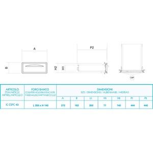 CASSETTO SERVIZI CON CHIAVE IN INOX - Linea ICE - Mod. IC CS PC40 - Angoli arrotondati - Foro banco cm L 35 x 14 H - Profondità cassetto cm 44,4