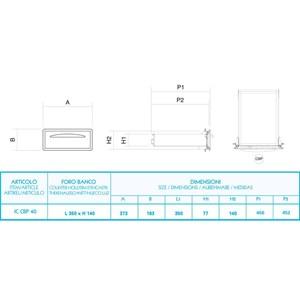 CASSETTO CAFFE' IN INOX - Linea ICE - Mod. IC CBP40 - Angoli arrotondati - Vasca per eliminare i residui liquidi - Foro banco cm L 35 x 14 H - Profondità cassetto cm 45,6