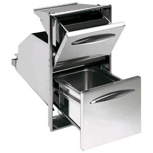TRAMOGGIA CAFFE' CON RACCOLTA IN INOX - Linea ICE - Mod. IC TRBR 35/45 - Angoli arrotondati - Vaschetta a tenuta stagna per eliminare la defluizione dei residui liquidi - Contenitore estraibile per lo smaltimento dei fondi - Foro banco cm L 35/44 x 27,3/30,5 H (in base al modello)