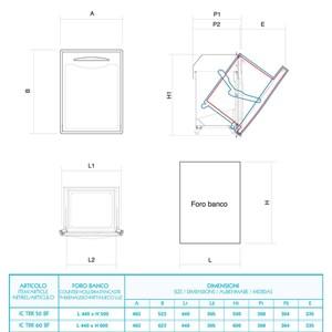 TRAMOGGIA RIFIUTI INOX - Linea ICE - Mod. IC TRR 50/60 BF - Contenitore interno fisso - Foro banco cm L 44 x 50/60 H (in base al modello)