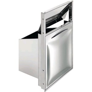 TRAMOGGIA RIFIUTI INOX VIAVAI (coperchio basculante) - Linea ICE - Mod. IC TRR 70 VV - Contenitore interno estraibile - Foro banco cm L 44 x 70 H