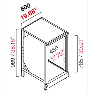RETROBANCO BAR NEUTRO - SEMILAVORATO DA PANNELLARE - MOD. RBL500LAVATAZZE - STRUTTURA IN METALLO - PER LAVATAZZE - DISPONIBILE IN 2 PROFONDITA': cm 55, 63 - DIM Cm L 50 X H 96,9