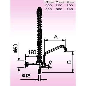 GRUPPO DOCCIA SENZA MISCELATORE Mod. MIGNON 600 - Altezza cm 60 - Con rubinetto - Canna ad U - Colore nero