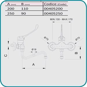 RUBINETTO PER LAVELLO A MURO Mod. RMMBEM - Miscelatore - Biforo e monocomando - Con canna snodabile tipo S - Leva lunga