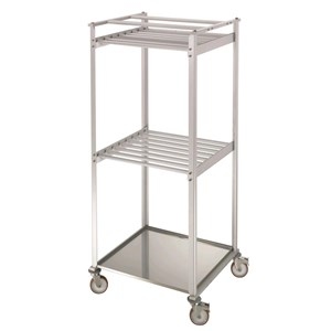 CARRELLO STAGIONATURA SALUMI Mod. CAR ALU - Telaio in alluminio anodizzato - Ruote - Con vaschetta e traversi in alluminio - Dimensioni cm L 84 x P 77 x 185h