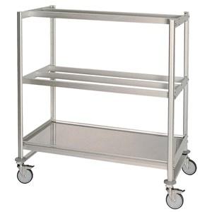 CARRELLO CON RIPIANI E APPENDISALUMI Mod. CAR APPSAL 2 - Telaio in alluminio anodizzato - N. 2 ripiani appendisalumi a 2 e 3 barre - N. 1 ripiano liscio - Ruote - Dimensioni cm L 120 x P 60 x 165h