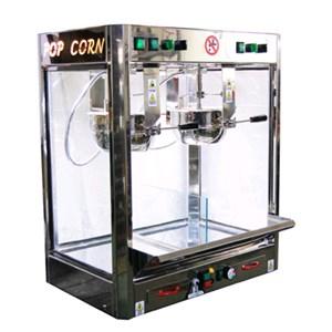MACCHINA PER POPCORN - MOD. JOLLY DOPPIO - N. 2 PENTOLE utilizzabili anche singolarmente - Cottura tradizionale con olio - Modalità di cottura standard o rapida - Mescolatore automatico - Termostato - Capacità gr. 300 + 300/3 minuti - Potenza 2300 W - Alimentazione 230 V monofase - Dimensione cm L 73 X P 47 X H 94 - Norma CE