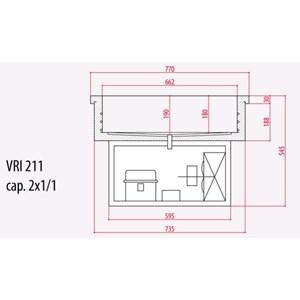 VASCA ESPOSITIVA DA INCASSO REFRIGERATA PER VASCHETTE GN - MOD. G-VRI - PER GASTRONOMIA - Temp. +2°/+8° C e -5°/+5° C (IN BASE AL MODELLO) - ALIMENTAZIONE MONOFASE 220-240V/1/50Hz - REFRIGERAZIONE STATICA - SBRINAMENTO AUTOMATICO