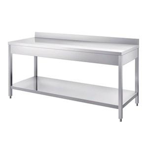 Tavolo da lavoro inox - gambe quadre 4x4cm - con ripiano inferiore - piano top spessore cm 4 - con alzatina