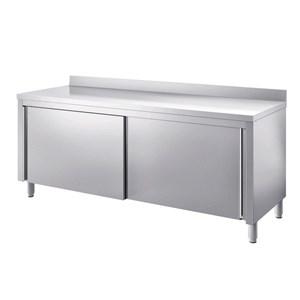 Tavolo armadiato inox con ante scorrevoli - piano top spessore cm 4 - con alzatina