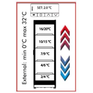 VETRINA ESPOSIZIONE VINI - MOD. CW 400 MT INOX - STRUTTURA IN INOX - TEMPERATURA DIFFERENZIATA A SECONDA DEI RIPIANI - CAPACITA' LT. 376 - TEMPERATURA +5° +15°C - Dim. cm. L 61 x P 60,5 x h 184,3 - Norma CE