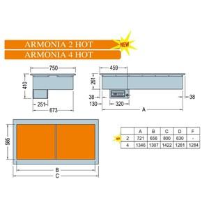 VASCA ESPOSITIVA DA INCASSO RISCALDATA CON PIASTRE IN VETROCERAMICA - MOD. ARMONIA HOT - PER GASTRONOMIA - TEMPERATURA °C +30/+90 - ALIMENTAZIONE MONOFASE V 230/1/50 Hz - BACINELLE COMPATIBILI GN 1/4, 1/3, 1/2, 2/3, 1/1, 2/1 - H MAX BACINELLE cm 6,5 - H MIN BACINELLE cm 2