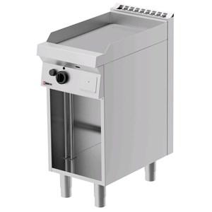 FRY TOP A GAS - MOD. FRG71OE - Piastra liscia - Vano a giorno - Potenza kW 5,5 - Dimensioni: cm L 40 x P 70 x H 90 - Norma CE