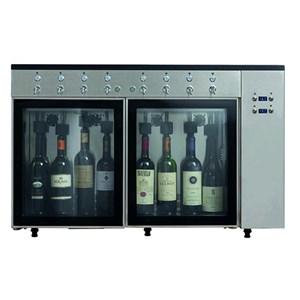 EROGATORE DI VINO AL CALICE / AZOTATRICE - Mod. VINO 6 - Plug & Play - Struttura in acciaio inox aisi 304 - Capacità: N. 6 bottiglie disposte in linea, due vani da N. 3 bottiglie ciascuno - Alimentazione 220/240V-50 Hz - Dimensioni cm L 84,5 x P 38 x 64,1 h