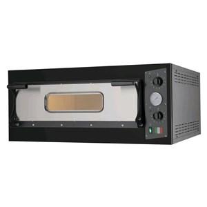 FORNO ELETTRICO PER PIZZA - Mod. BLACK 4 - N. 1 camera - Superficie di cottura in pietra refrattaria - Dimensioni camera cm L 66 x P 66 x h 14 - N. Pizze 4 (Ø cm 33) - Potenza 4,7 Kw - Norma CE
