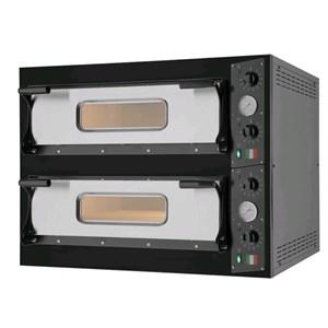 FORNO ELETTRICO PER PIZZA - Mod. BLACK 44 - N. 2 camere - Superficie di cottura in pietra refrattaria - Dimensioni camera cm L 66 x P 66 x h 14 - N. Pizze 4+4 (Ø cm 33) - Potenza 9.4 Kw - Norma CE