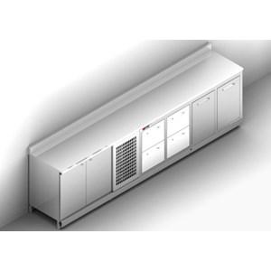 RETROBANCO BAR REFRIGERATO - SEMILAVORATO DA PANNELLARE - MOD. RBR35063 PR - ALIMENTAZIONE V 230/50Hz MONOFASE - CON UNITA' CONDENSATRICE INCORPORATA - DIM. Cm L 350 x P 63 x h 96,9