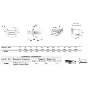 CASSETTO CAFFE' IN INOX - Linea 8 - Mod. 8CFC + 1074/C - Vasca per eliminare i residui liquidi - Foro banco cm L 34,7 x 13 H - Profondità cassetto cm 40,7