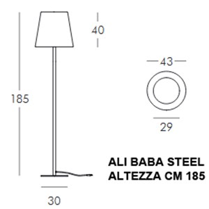 LAMPADA LUMINOSA DA TERRA - MOD. ALI BABA STEEL - LAMPADA PER INTERNO/ESTERNO - PARALUME IN POLIETILENE E BASE IN ACCIAIO - NORMA CE