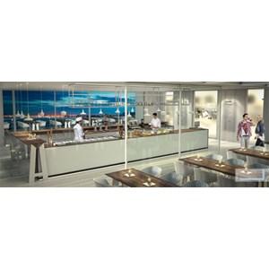 MODULO NEUTRO MACCHINA CAFFE' / CASSA E STOCCAGGIO BAR SHARING - MOD. 2000_MC/CA + ST - DIMENSIONI cm L 200 x P 73,4 x h 97
