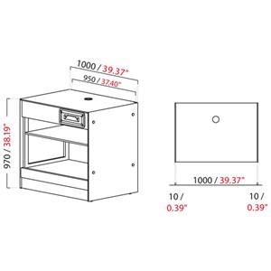 MODULO NEUTRO MACCHINA CAFFE' / CASSA BAR SHARING - MOD. 1000_MC/CA - DIMENSIONI cm L 100 x P 73,4 x h 97