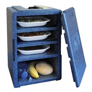 CONTENITORE ISOTERMICO MONOPASTO IN POLISTIROLO - POLIBOX Linea DINNER BOX - MOD.110983 - Dimensioni cm L 24 x P 25 x 35h - Norma CE - Imballo confezione da n. 1 Unità