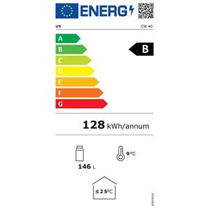 ESPOSITORE REFRIGERATO PER VINO - Mod. CW 40 - Capacità Lt. 122 - Temperatura +5/+20 °C - Alimentazione monofase - Dimensioni cm L 48,5 x P 60 x 82 h - Norma CE