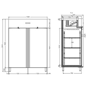 Armadio frigo congelatore in acciaio inox Forcold modello G-GN1410BT-FC