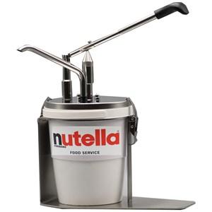 Dosatore e riempitrice senza ago - Mod. DIPENSER NUTELLA S/AGO - Adatto per secchiello nutella Ferrero 3 kg - Erogazione regolabile da 12 fino a 20 grammi - Dimensioni cm L 30 x P 17 x 37 h