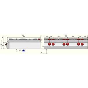 PIANO COTTURA A GAS - MOD. FA093T0 - N. 6 fuochi - Con fiamma pilota - Dimensioni: cm L 120 x P 90 x H 24 - Norma CE