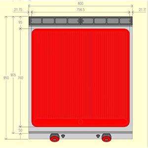 FRY TOP A GAS - MOD. FTG92MC - 1/2 piastra liscia 1/2 piastra rigata - Vano a giorno - Potenza kW 18 - Dimensioni: cm L 80 x P 90 x H 90 - Norma CE