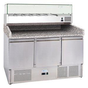 Banco pizza refrigerato in acciaio inox Forcold G-S903PZVRXGLASS FC