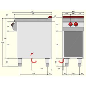 Piano cottura elettrico 2 piastre in vetroceramica Desco IR071M0 linea BOHEME