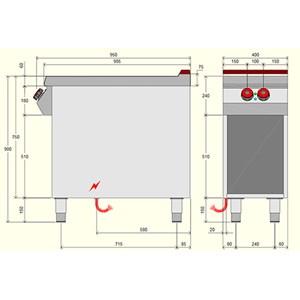 Piano cottura elettrico 2 piastre in vetroceramica Desco IR091M0 linea BOHEME