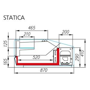 VETRINA REFRIGERATA DA BANCO - Mod. ARGO 2 - STATICA - TEMPERATURA +2°/+8°C - PROFONDITA' PIANO ESPOSITIVO cm 52 - ALIMENTAZIONE MONOFASE 230V/1/50 Hz - DIMENSIONI cm L 100 x P 87 x 41h