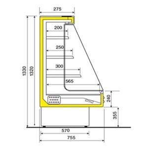ESPOSITORE MURALE REFRIGERATO SELF SERVICE - IDEALE PER BIBITE - MOD. MANDY - COMPLETA DI 3 RIPIANI INCLINABILI IN ACCIAIO - ALIMENTAZIONE MONOFASE V 230/50 Hz - REFRIGERAZIONE VENTILATA - TEMPERATURA °C +4/+8 - NORMA CE