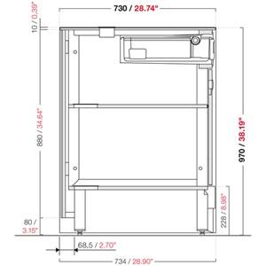 MODULO NEUTRO MACCHINA CAFFE' / CASSA BAR SHARING - MOD. 1500_MC/CA - DIMENSIONI cm L 150 x P 73,4 x h 97
