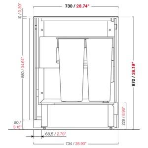 MODULO NEUTRO TRAMOGGIA E STOCCAGGIO BAR SHARING - MOD. 2000_TR + ST - CON N. 4 CONTENITORI IN PLASTICA - DIMENSIONI cm L 200 x P 73,4 x h 97