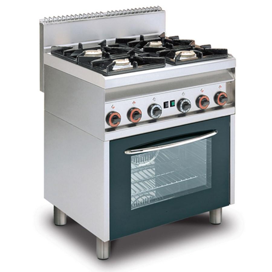 Cucina A Gas 4 Fuochi Con Forno A Gas Con Grill Allforfood Cf4 8g Linea Elle Allforfood