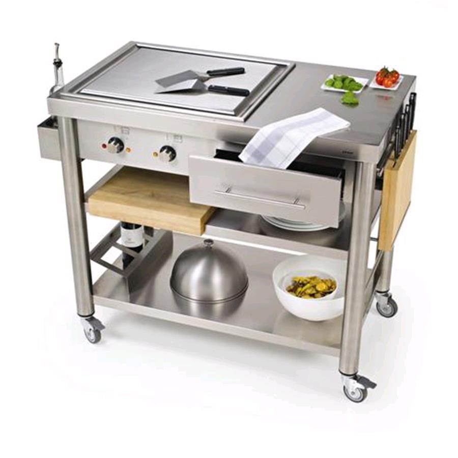 carrello da cucina mod 697110 teppan yaki in acciaio inox mod 697110 con piastra elettrica teppan yaki 2 zone di cottura da 50 250
