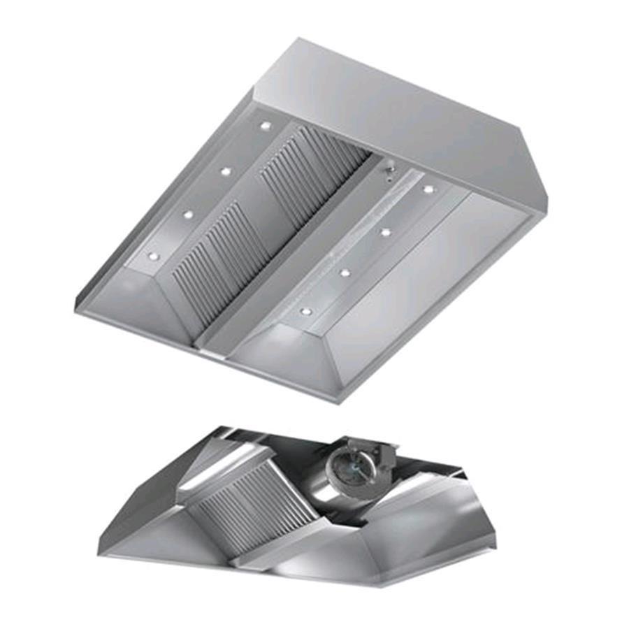 Cappa centrale autoaspirante in acciaio inox aisi 304 con for Cappa acciaio