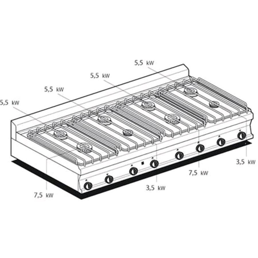 PIANO COTTURA A GAS - MOD. PCT/716GP - N. 8 fuochi - Dimensi