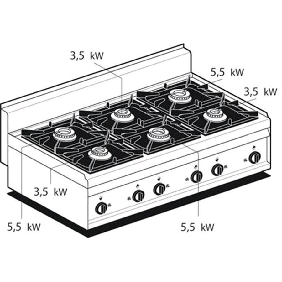 PIANO COTTURA A GAS - MOD. PC/12G - N. 6 fuochi - Dimensioni: cm L 120