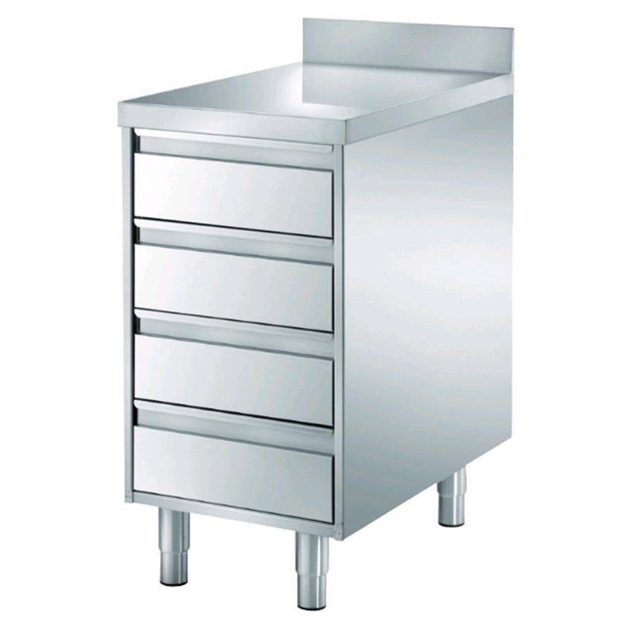 Tavoli cassettiera inox - 4 cassetti - con piano top cm 4 ...
